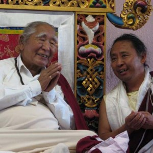 Khetsun Sangpo Rinpoche with Lama Tenzin Samphel in France.